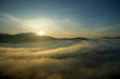 sea fog over the hills with sunrise background