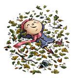 niño feliz tumbado entre las hojas - 183293661
