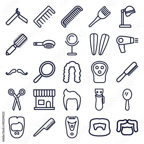 Fototapeta Set of 25 barber outline icons