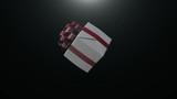Geschenk mit roter Schleife dreht sich - 183294410