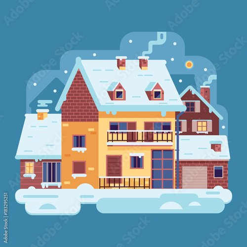 Plexiglas Boerderij Snowy scene with country winter home with smoking chimney on village background. Cozy cottage or traditional farmhouse on countryside area by wintertime. Cartoon snow capped house landscape banner.