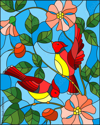 illustration-in-stained-glass-style-with-two-red-birds-on-the-branches-of-blooming-wild-rose-on-a-background-sky