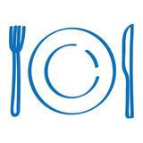 Handgezeichnetes Gedeck in dunkelblau - 183302420
