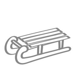 Handgezeichneter Schlitten in grau