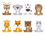 Set of cute animals isolated on white background