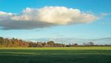 Rural dutch landscape lit by low autumn sunlight. - 183303425