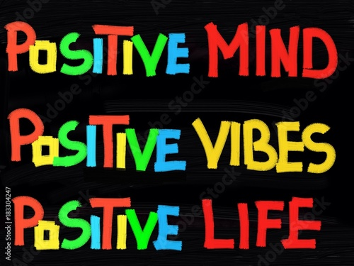 In de dag Positive Typography Positive mind, positive vibes, positive life