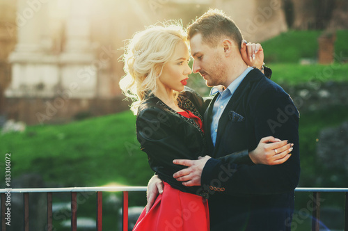 Foto op Canvas Rome Happy young couple during holiday in Rome, Italy