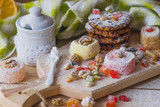 East sweets with fruits, nuts and sugar powder - 183306854