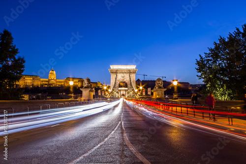 Foto op Aluminium Nacht snelweg Chain Bridge - Budapest