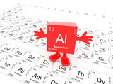 Aluminium element symbol up on white periodic table - happy red cube with hands up - 183309272