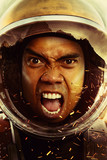 Space mission .Closeup portrait of an Astronaut in outer space  - 183310074