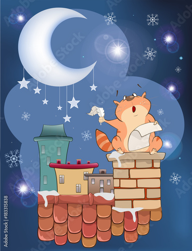 Staande foto Babykamer Illustration The Cat on the Roof