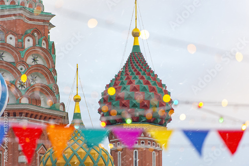 Fotobehang Moskou Moscow, Russia, Christmas Tree at the Red Square, Winter New Year market