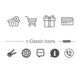 Shopping cart, Credit card and Gift box icons. - 183326428