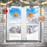 Christmas old white window with decorations. - 183327634