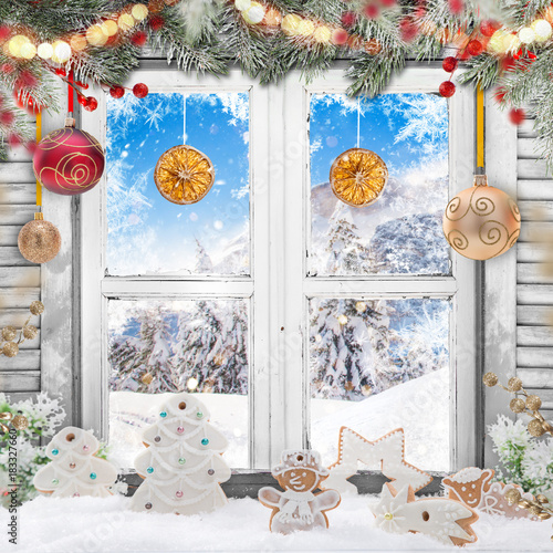 Christmas old white window with decorations. - 183327660