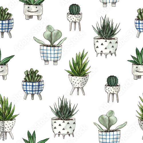 watercolor home plants. seamless pattern with white background - 183328011