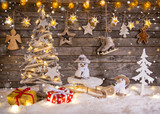Christmas decoration on wooden background - 183328200