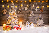 Christmas decoration on wooden background - 183328223