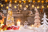 Christmas decoration on wooden background - 183328244