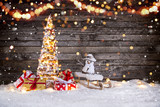 Christmas decoration on wooden background - 183328256