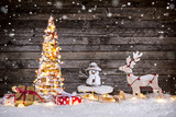 Christmas decoration on wooden background - 183328287
