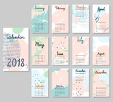 Hand drawing vector Calendar 2018. Abstract painting templates.
