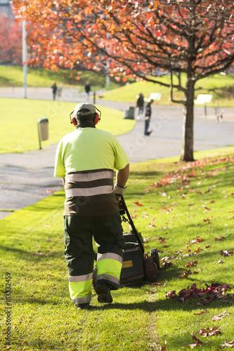 In de dag Gras lawn mower grass service gardener in city park