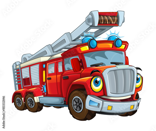 Cartoon happy and funny cartoon fire fireman bus looking and smiling - illustration for children - 183332846
