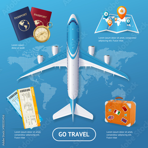 Realistic 3d Detailed Travel and Tourism Concept. Vector