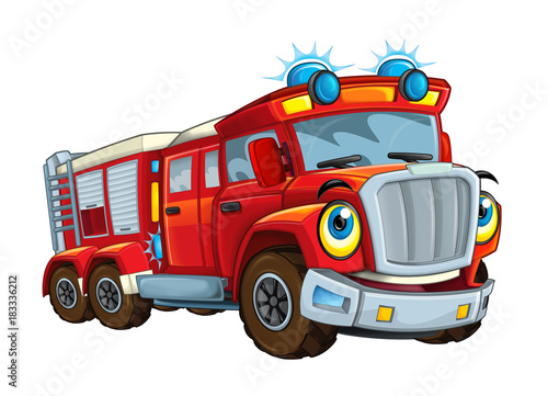 Cartoon happy and funny cartoon fire fireman bus looking and smiling - illustration for children - 183336212