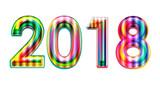 Happy new year 2018 calendar cover, typographic vector illustration. - 183343056