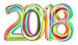 Happy new year 2018 calendar cover, typographic vector illustration. - 183343228