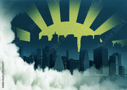 Abstract city backdrop - 183343677
