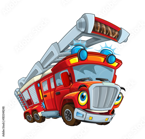 Cartoon happy and funny cartoon fire fireman bus looking and smiling - illustration for children - 183344248