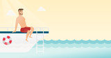 Young caucasian white man tanning on the front of the yacht. Happy man travelling by yacht. Man resting during summer trip on the yacht. Vector cartoon illustration. Horizontal layout. - 183344441