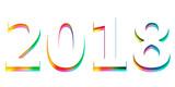 Happy new year 2018 calendar cover, typographic vector illustration. - 183345456