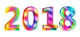 Happy new year 2018 calendar cover, typographic vector illustration. - 183345832