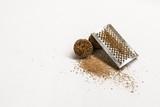 Nutmeg. Whole nut, half and powder isolated on white background. - 183348666