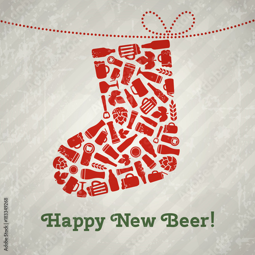 Fototapeta Vector christmas stocking beer poster. Happy new beer tagline. Christmas sock composed of craft beer bottles, mugs, glasses, ingredients and accessories. Retro grunge new year background
