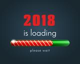 2018 is loading, vector illustration with the progress bar