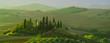 Quadro Beautiful landscape in Tuscany, Italy.Farmhouse, vineyard and olive grove.