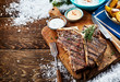 Quadro Grilled t-bone steak with sauces and side dishes