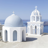 Greek white and blue dome ortodox church in Firostefani on Santorini island, Greece - 183358887