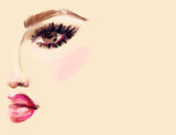 Abstract woman face. Makeup.  Fashion illustration.  - 183364610