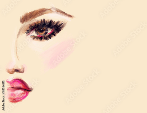 Abstract woman face. Makeup.  Fashion illustration.