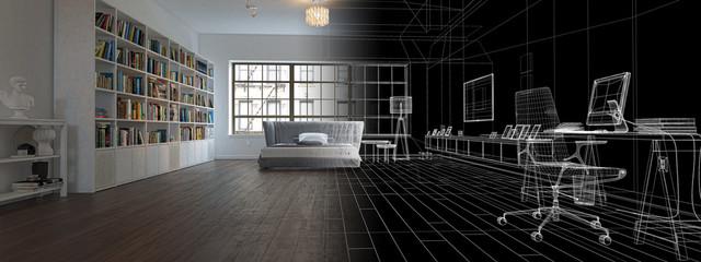 Camera da letto con libreria, illustrazione 3d, rendering © LaCozza