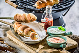 Winter barbecue with grilled twist bread