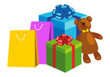 Shopping bags, Gift boxes and Teddy bear. Concept Christmas shopping, Christmas sales, Holiday presents. Vector illustration isolated on white background.